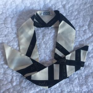 Hermes Silk Bolduc White with Black